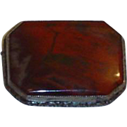 Vintage Sterling  Silver Carnelian  Moss Agate Brooch