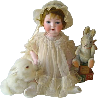 Antique Heubach Koppelsdorf German Bisque 320 Doll Original Wig, Open Mouth, Teeth, Sleep Eyes c.1910 15 Inches
