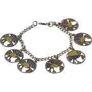 Vintage Rare Sterling Silver Enamel Haida Raven Bracelet c1950