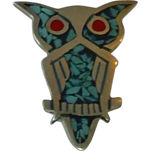 Vintage Sterling Silver Mexico Mexican Inlaid Turquoise Owl Brooch
