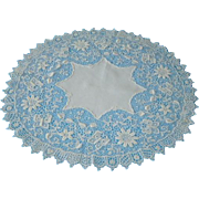 Antique Large Lace Doily with Butterflies