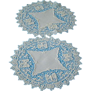 Antique Pair of White Lace Doilies with Butterflies