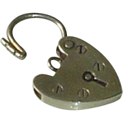 Art Deco Sterling Silver Heart Padlock