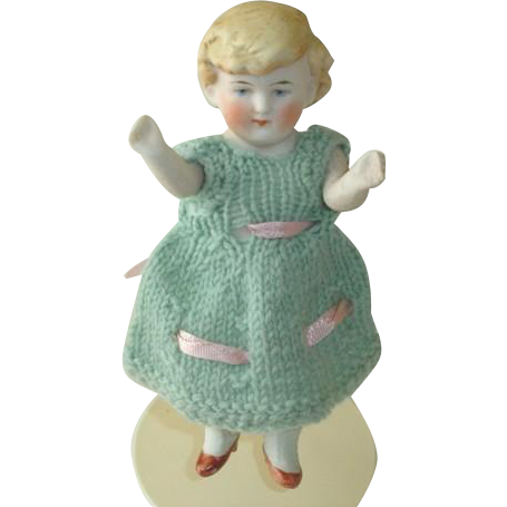 Antique German Doll with Molded Hair