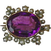 Antique Victorian Gold Filled Brooch With Large Amethyst And Seed Pearls