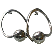 Vintage Sterling Silver Taxco Hoop Earrings with Balls