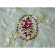 Antique French Silk Lingerie Case with Silk Embroidered Flowers for the Bride