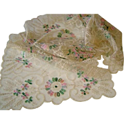 Vintage Net Lace Runner & Doily with Colourful Silk Flowers