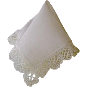 Vintage Wedding Hankie Hanky with Lace Edge