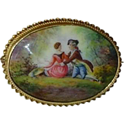 Antique 14K Gold Enamel Brooch Courting Couple