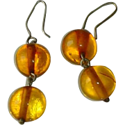 Vintage Estate Baltic Amber Bead Ball Drop Earrings