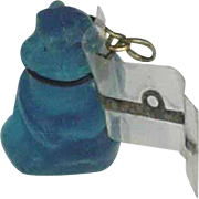 Vintage Blue Czech Monkey Animal with Label