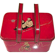 Vintage Red Tin Lunch Box with Sports