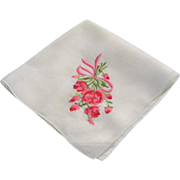 Vintage Lawn Hankie Hanky with Bouquet of Roses