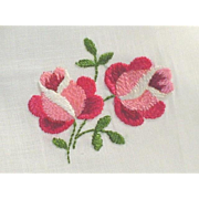 Vintage Sheer Hankie Hanky with Hand Embroidered Roses MWT