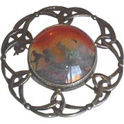 Scottish Celtic Sterling Silver Moss Agate Pin Brooch