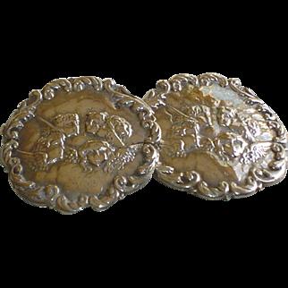 Antique Angel Sterling Silver Belt Buckle with Putti Cherubs c1900