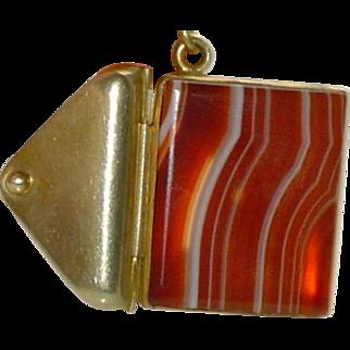 Antique Banded Agate Pendant on Garnet Beaded Chain