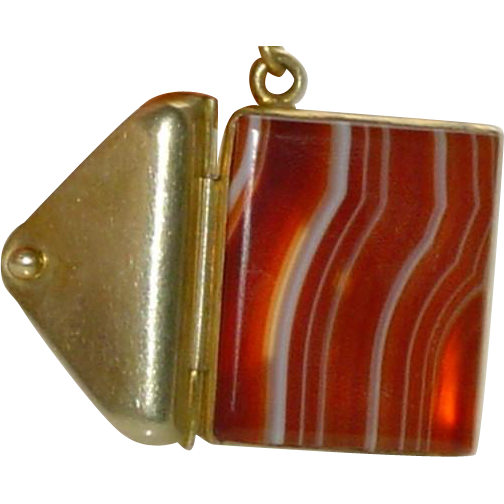 Antique Banded Agate Pendant on Beaded Chain