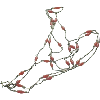 Antique Chain with Coral Coloured Beads and Pearls