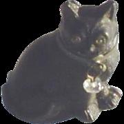 Antique Czech Glass Miniature Black Cat