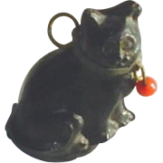 Antique Czech Glass Black Cat