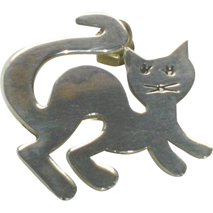 Vintage Sterling Silver Mexico Mexican Cat Brooch