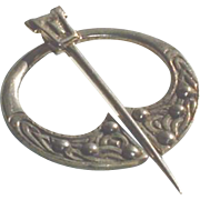 Vintage Scottish Sterling Silver Penannular  Celtic Brooch Glasgow 1948