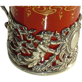 Antique Sterling Silver Cup Holder with Putti Angels Cherubs
