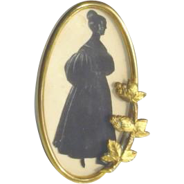 Antique Silhouette in Gilt Gold Oval Frame c1890