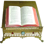 Antique French Jeweled Brass Bible Stand