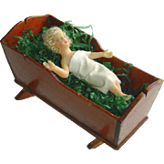Antique German Christmas Wax Baby Jesus in Cradle