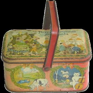 Vintage Christmas Tindeco Tin with Handle