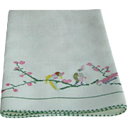 Vinatage Linen Hand Towel with Birds