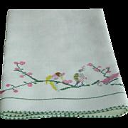 Vinatage Linen Hand Towel with Birds
