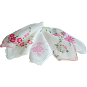 Vintage Set of Embroidered Pink Hankies