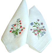 Vintage Pair Hand Embroidered Strawberry Hankies