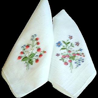 Vintage Pair Hand Embroidered Strawberry Hankies
