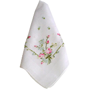 Vintage Embroidered Rosebud Wedding Bridal Hanky Hankie