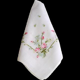 Vintage Embroidered Rosebud Wedding Bridal Hanky Hankie
