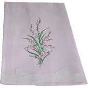 Vintage Madeira Pink Linen Hand Towel with Bouquet Lily of the Valley