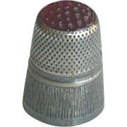 Vintage Sterling Silver Thimble with Red Glass Top