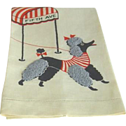 Vintage Pair French Poodle Linen Hand Towels Mint
