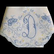 Vintage Madeira Fine Monogram Hankie Hanky