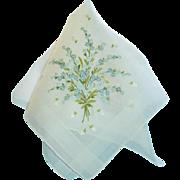 Vintage Fine Sheer Embroidered Hankie Hanky