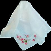 Vintage Fine Sheer Embroidered Floral Hankie Hanky