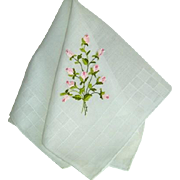 Vintage Fine Sheer Hand Embroidered Hankie Hanky.