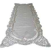 Antique Fine Linen Runner with Hand Done Lace Border