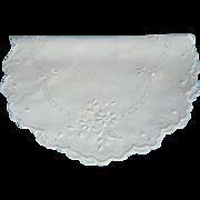 Vintage Linen Hand Embroidered Centerpiece