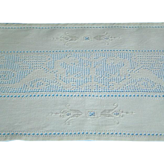 Vintage Linen Italian Reticello Place Mats Placemats with Hand Done Griffons Gryphon